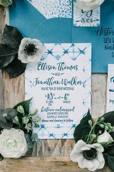 Tie dye shibori fabric inspired wedding invitation #cedarwoodweddings Indigo Design Inspiration by Cedarwood Weddings   Cedarwood Weddings