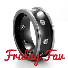 Today's FRIDAY FAV: Black Titanium Concave Mens Ring with Diamonds by Edward Mirell. Get it at an unbelievable price for today and today only!