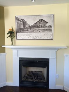 Deluxe King rooms have a cozy fireplace and artwork capturing Calistoga's past.