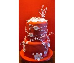 White and red flower cake
