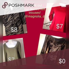 $7 & $8 Blouses & Blazers! Check out @magnolia_d We have awesome deals on jackets, blouses, cardigans and Blazers. $7 and $8! Check out our closet @magnolia_d  Tops
