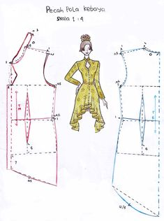How to Knot Stitch and Fashion Sewing, Diy Fashion, Womens Fashion, Dress Sewing Patterns, Clothing Patterns, Kebaya Peplum, Kebaya Moden, Model Kebaya Modern, African Blouses