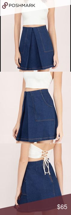 Finders keepers flashback mini skirt xs It is new with tag!! It's color is blue. 100% Cotton. Initial price $130. Length:18.5cm. Waist:28*/71.1cm It has front pockets. Finders Keepers Dresses Mini