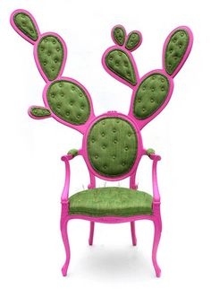"""Cracking up over """"CACTUSH"""" -- """"Prickly Pair Chairs by Valentina Glez Wohlers is a furniture project born out of the creative experience of a Mexican designer in Europe. The Nopal cactus symbolizes Mexican heritage and national pride. According to legend, the Gods told the Aztecs to build Tenochtitlan (now Mexico City) in the place they saw an eagle standing on a Nopal, devouring a snake. To this day, the image resides on the Mexico's Cote[sic] of Arms."""" -- More prickles at the click-through."""