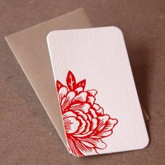 For Poppy Soap Co. sample soaps. Mini Note Letterpress Cards  Blossoming Flower by RubyPress, $8.00