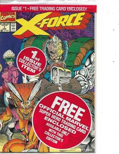 Super Hero Trading Card Enclosed X-Force V 1 #1 Marvel Comics August 1991 NM