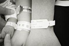 Kodak Moment - hospital arm bracelets taken together-mom, dad, baby