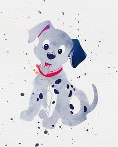 101 dalmatians print, watercolor art, nursery printable, disney art, kids printable wall art,  wall decor, baby room gift