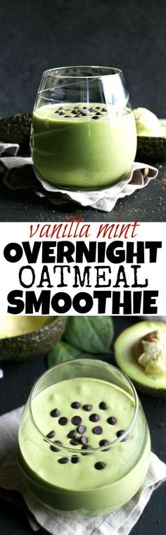 Getting those greens in is super easy with this deliciously creamy Vanilla Mint Overnight Oatmeal Smoothie! | http://runningwithspoons.com #vegan #glutenfree #healthy #recipe