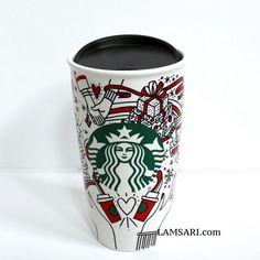 Starbucks, Shot Glass, Tumbler, Scene, Ceramics, Mugs, Holiday, Red, Gifts