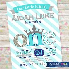 Prince Birthday Invitation 1st Birthday Party by DreamlikeMagic