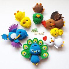 Apostila Digital - Kit Passarinhos 2 - Versão Pocket em feltro, fácil confecção. Adquira a sua na loja oficial (clique em visitar ou acesse www.timart.com.br) :::::::::::: Pattern PDF, to make in felt. Vectored templates! Use to make souvenirs, pencil tips, fingertips, and more! Get yours in the official store: www.timart.com.br