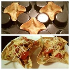 DIY taco bowls.  Turn muffin tins upside down, spray with cooking spray, and bake 375 degrees for 10 minutes.
