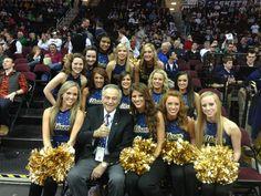 http://twitter.yfrog.com/khj9yiuj UA president Dr. Proenza with the Zips dance team #ZipsGameday