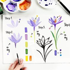 Hey ☺️🎨 New tutorial – lavender as you requested 💜 just 3 easy steps 🌸 swipe for zoomed steps ☺️😉👉🏻 . Hey ☺️🎨 New tutorial – lavender as you requested 💜 just 3 easy steps 🌸 swipe for zoomed steps ☺️😉👉🏻 . Watercolor Flowers Tutorial, Step By Step Watercolor, Easy Watercolor, Watercolour Tutorials, Watercolor Cards, Flower Tutorial, Floral Watercolor, Painting Tutorials, Simple Watercolor Flowers