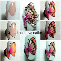 Butterfly Nail Art, Insects, Nail Designs, Nails, Summer, Style, Butterflies, Crystals, Ongles