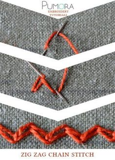 Pumora's embroidery stitch-lexicon: zig zag chain stitch tutorial