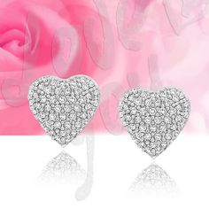 Samie Collection Heart Pave Set 1.1 CT CZ Silver Stud Wedding Bridal Earrings  #SamieCollection #Stud
