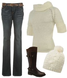 Ideal winter warmer combination! Snug jumpers and match hat, straight cut, flattering jeans, topped off with calf high boots! Beautiful. http://www.lillywhites.com/ladies