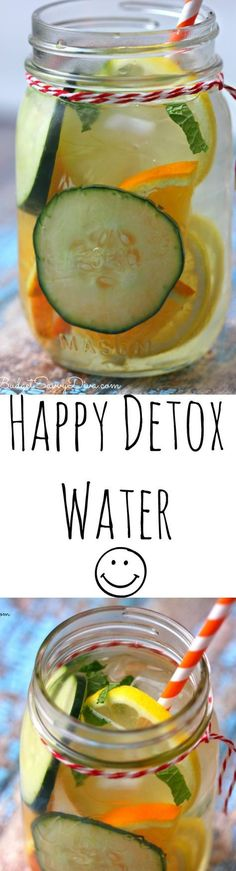 Happy Detox Water Recipe - perfect when you are having a stressful day. I feel so much better after drinking this detox.