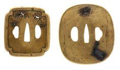 Two tsuba, an ojime and an inlaid iron box and cover Edo period (1615-1868) or Meiji era (1868-1912), 19th century (5)