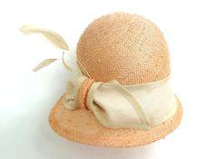 Peach Summer Straw Cloche Hat With Natural Trim Bow by MiriamLeala <3