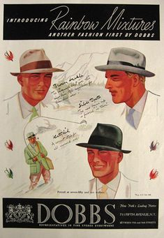 1936 Dobbs Rainbow Mixtures Hat Ad