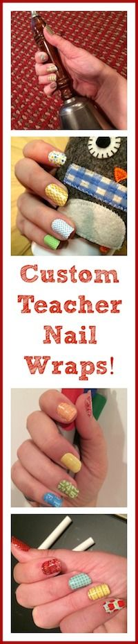 Custom Teacher Nail Wraps!   One sheet does 2 manis and 2 pedis!  Perfect for Teacher Appreciation coming soon!
