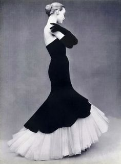 L'Officiel October 1951.  black and white Evening dress by Balenciaga