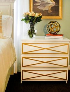 Nightstands.  Ikea hack - add overlays with a new color to your ikea furniture