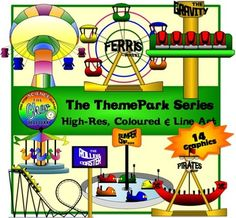 The Theme Park Series! (Includes both colored and line art)14 Graphics:Roller CoasterMerry go roundFlying ChairPirates ShipGravityFerris WheelBumper CarDo check out my other Non-Science Themes:Gym RoomAirportIf you liked them all, there is a bundle at a great discount!Theme Park + Airport + Gym Room BundleThis product can be used PERSONALLY and commercially, but credit must be given to my store: https://www.teacherspayteachers.com/Store/The-Cher-Room $4.00