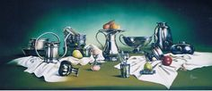 Composition of pewter, Oil painting, 110x50 cm 2004
