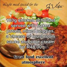Valentines month is bringing you more special offers from Je'Vista Social Café Jeffrey's Bay. This weeks menu special is a fantastic 180g Chicken Schnitzel, served with baked potato and veggies with a choice of sauces for only R48.00. Don't forget we also have the Bucket special running every day this month. #specials #cuisine Chicken Schnitzel, Mushroom Sauce, Light Recipes, Sour Cream, Baked Potato, Great Recipes, Don't Forget, Sauces, Stuffed Mushrooms
