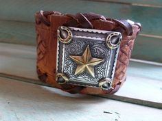 Distressed Brown Leather Cuff Bracelet with by BellaNotteDesigns, $23.00