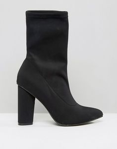 Missguided | Missguided Pointed Toe Neoprene Heeled Ankle Boot