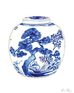 Blue and White China Porcelain Ginger Jar Vase No. 9 - Print of Watercolor - Chinoiserie Chinese Antique Ceramics Ming Vase Porcelain Jewelry, China Porcelain, Painted Porcelain, Porcelain Ceramics, Porcelain Print, Japanese Porcelain, Cold Porcelain, Blue And White China, Blue China
