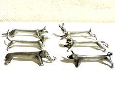 French Vintage Knife Rests/Vintage Knife Rests/Vintage Pewter Knife Rests/Figural Knife Rests/Vintage Animal Knife Rests/Knife Rests by SouvenirsdeVoyages on Etsy