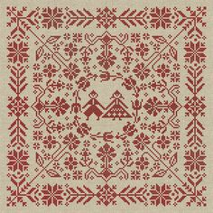 Nordic Pattern-Free | Swedish Folk Cushion - Cross Stitch Pattern - Instant Download PDF ...