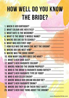 well do you know the bride? Free printable Games & quizzes that don't suck for your bachelorette, bridal shower or hen party.How well do you know the bride? Free printable Games & quizzes that don't suck for your bachelorette, bridal shower or hen party. Bachlorette Party, Bachelorette Party Games, Bachelorette Weekend, Hen Party Games, Party Favors, Bachelor Party Games, Wedding Shower Games, Bridal Shower Party, Wedding Games