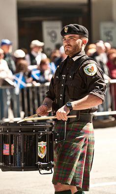 Beard drummer kilt