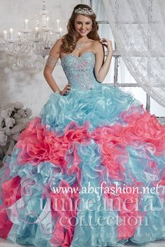 House of Wu Quinceanera Dresses and Gowns Style 26791 House of Wu Quinceanera Collection Spring 2015 Colors: Aqua/Bubblegum, Ivory/Neon Green, White/White http://www.abcfashion.net/house-of-wu-quinceanera-dresses-26791.html  Call us at 972-264-9100