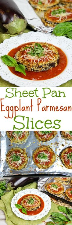 Healthy Sheet Pan Baked Eggplant Parmesan Slices - the best easy twist on Eggplant Parm! This oven made, no fry, simple dinner idea even gets crispy in the oven! Skinny, Vegetarian & lower carb (no pasta!) / Running in a Skirt