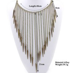 Punk Style Metal Rivets Tassels Necklaces & Pendants Fashion Women Statement Layered Necklaces Personalized Necklace