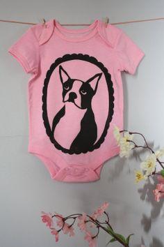 Boston Terrier Baby Onesie - Boston Terrier Cameo. $17.00, via Etsy.