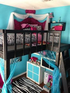 it would be made All boy like With another bed rather than storage underneath DIY loft bed, foam core corner headboard, and IKEA storage. Not the colors but the lil corner at the top is so cute Room Decor For Teen Girls, Teen Girl Bedrooms, Teen Bedroom, Bedroom Decor, Bedroom Furniture, Bedroom Ideas For Women On A Budget, Kids Furniture, Bedroom Sets, Rustic Furniture