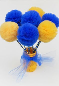 Graduation Party or School Spirit Blue and Yellow PREMIUM Tulle Pom Pom Wands 10 Pc Set >>> Visit the image link more details. Graduation Party Centerpieces, Graduation Theme, Graduation Celebration, Graduation Decorations, Yellow Theme, Blue Yellow, Golden Yellow, Pom Pom Centerpieces, Promotion Party