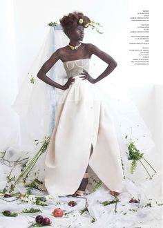 Clean structure meets chaos of nature   Alek Wek is Romantic in Flora for As If Magazine