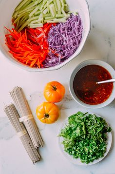 Rainbow Noodle Salad with Ginger Soy Vinaigrette - The Woks of Life Wrap Recipes, Asian Recipes, Ethnic Recipes, Vegetarian Chinese Recipes, Woks, Eating Light, Noodle Salad, Cold Meals, Side Salad