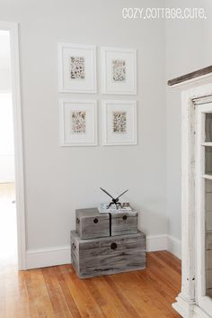 Gray Owl by Benjamin Moore, 50% lighter and Simply White trim