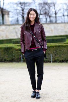 Liu Wen in burgundy leather - Model #Streetstyle at Paris Fashion Week #PFW